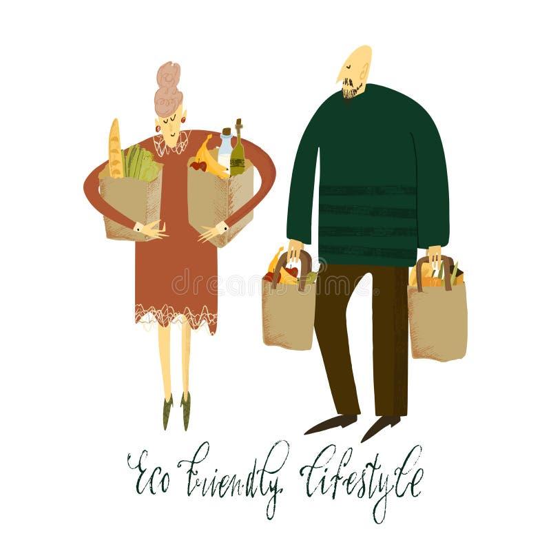 Vita residua zero Stile di Eco nessuna plastica va il verde Donne ed uomo con le borse di eco Illustrazione disegnata a mano di v royalty illustrazione gratis