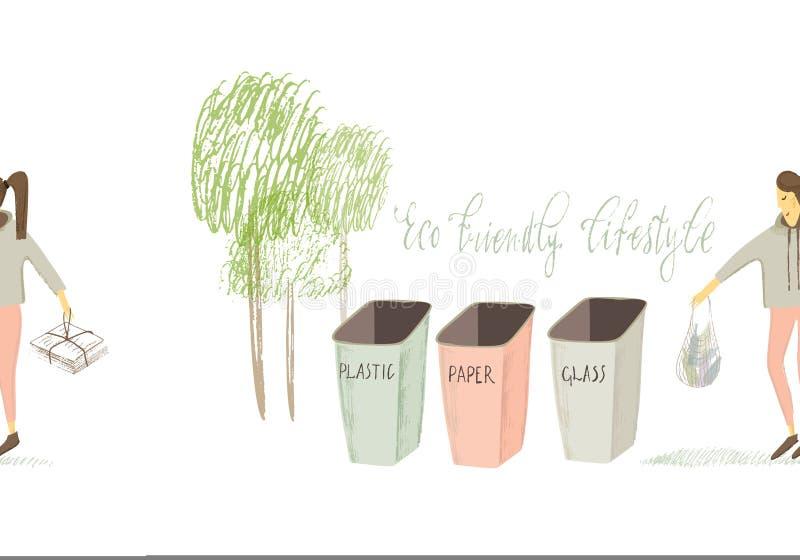 Vita residua zero Stile di Eco nessuna plastica va il verde Ragazza stilizzata Illustrazione disegnata a mano di vettore royalty illustrazione gratis