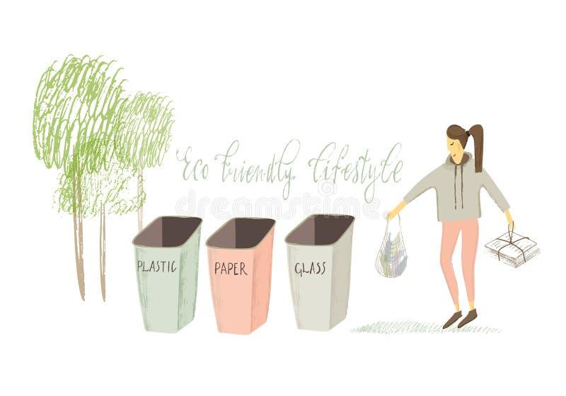 Vita residua zero Stile di Eco nessuna plastica va il verde Ragazza stilizzata Illustrazione disegnata a mano di vettore illustrazione vettoriale
