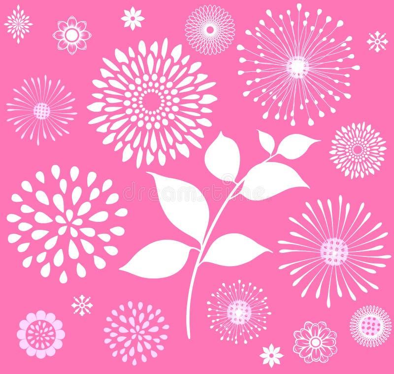 Vita Retro blom- Clipart på rosa bakgrund vektor illustrationer