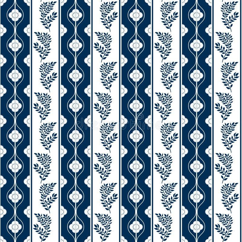Vita retro blommor på blå bakgrund royaltyfri illustrationer
