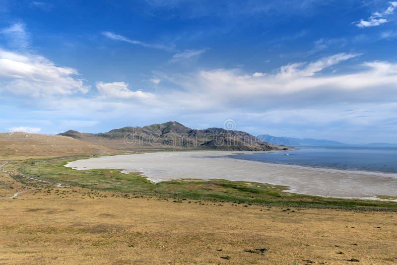 Vita Rock Bay i nationalparken Antelope Island royaltyfria bilder