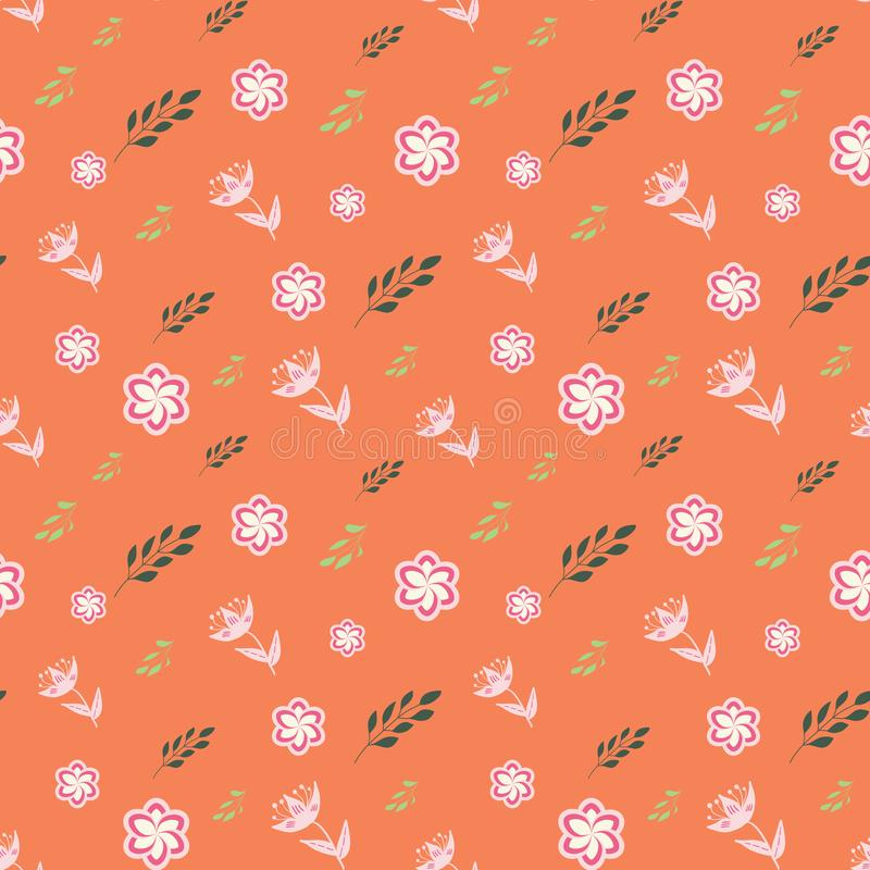 Vita, rosa, rosa och gröna stiliserade blommor och sidor på sömlös repetition för korallbakgrund vektor illustrationer
