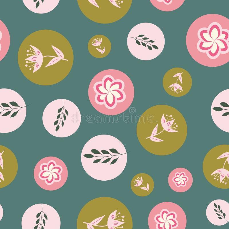 Vita, rosa och rosa stiliserade blommor och sidor på sömlös repetition för grön bakgrund vektor illustrationer