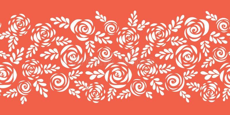 Vita rosor för blom- vektorgräns på rött sömlöst för korall Skandinaviska stilblommor och sidor blom- konturer bukettbows figure  stock illustrationer
