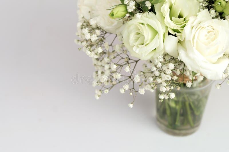 Vita rosor i exponeringsglas arkivbilder