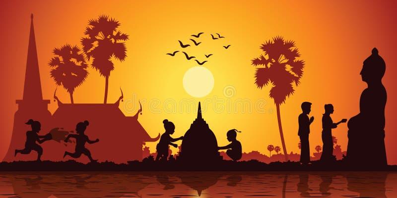 Vita rurale dell'acqua del gioco di bambini dell'Asia e costruire la pagoda della sabbia mentre le coppie versano l'acqua alla sc illustrazione vettoriale