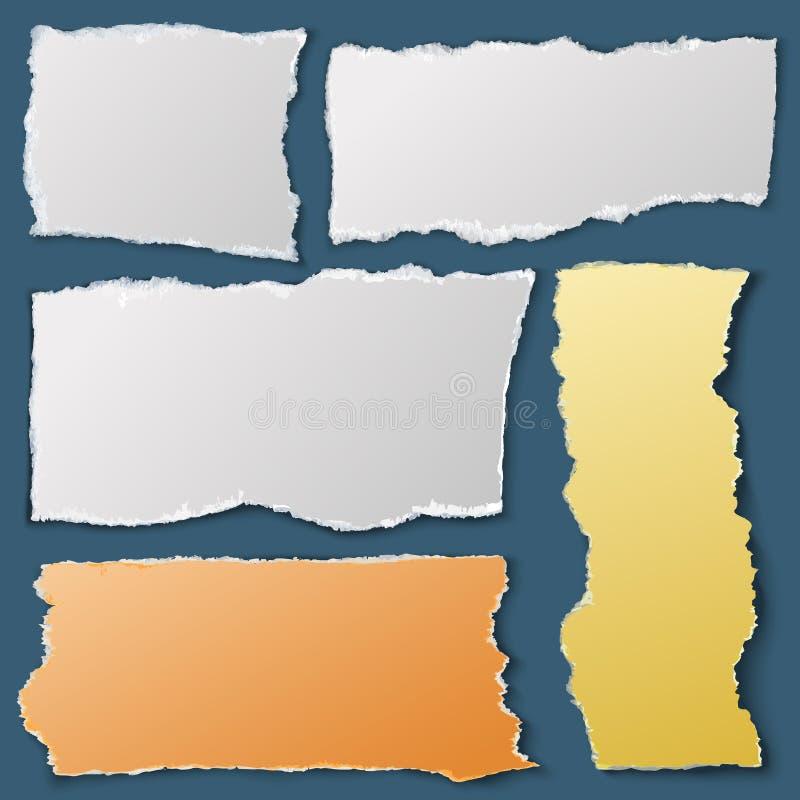 Vita sönderrivna pappersstycken Riven sönder anteckningsboklegitimationshandlingar Materiell vektorsamling för rest royaltyfri illustrationer