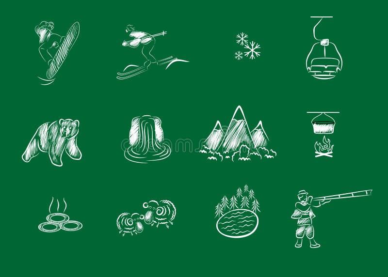 Vita semester och berg royaltyfri illustrationer