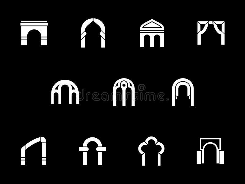 Vita skårasymboler för arkitektoniska bågar vektor illustrationer