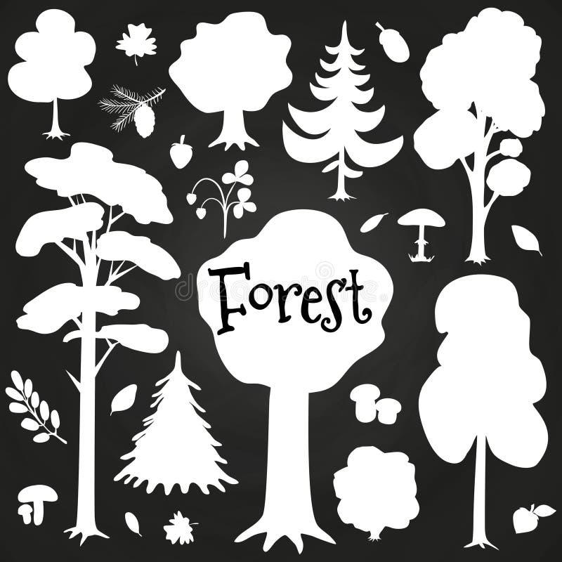 Vita skogbeståndsdelar på den svart tavlan Trädet buskar, förgrena sig beståndsdelar vektor illustrationer