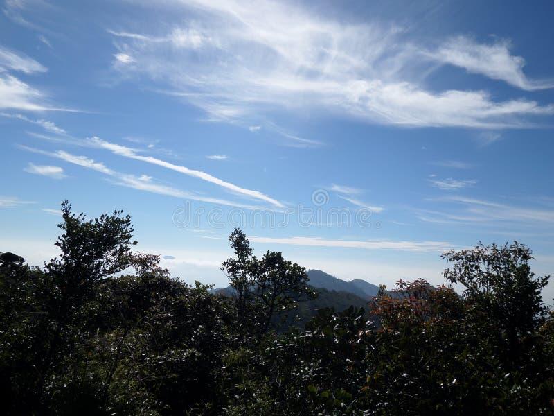 Vita skuggade moln i himlen royaltyfria foton
