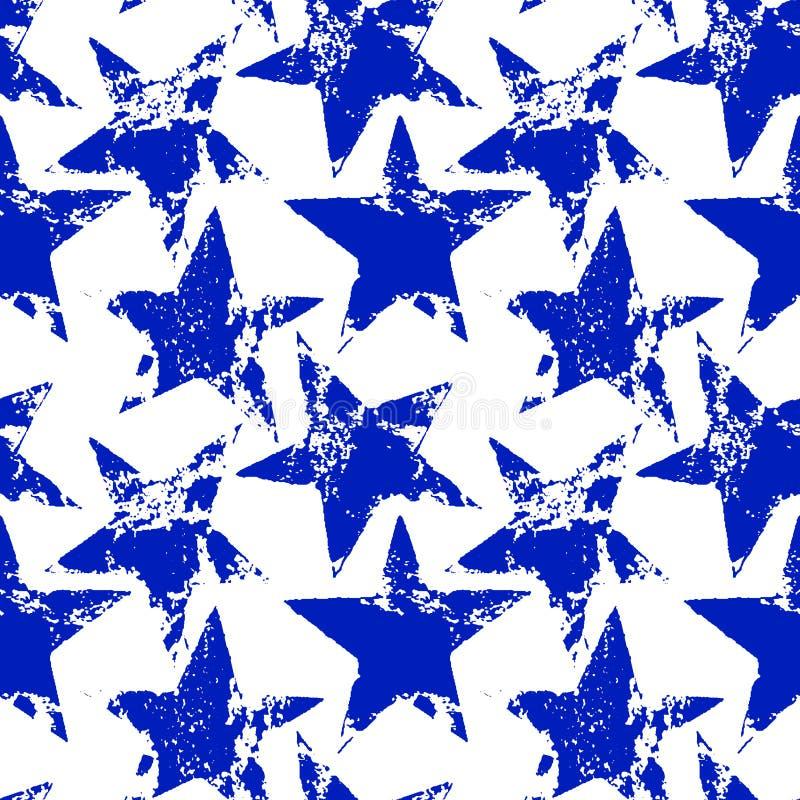 Vita slitna grungestjärnor sömlös modell, vektor för blått och royaltyfri illustrationer