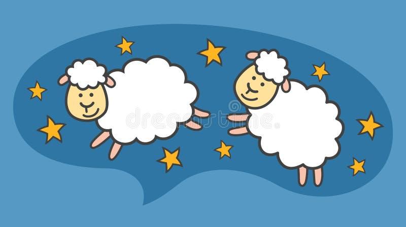 Vita små tecknad filmsheeps eller lamm flyger i den blåa natthimlen royaltyfri illustrationer