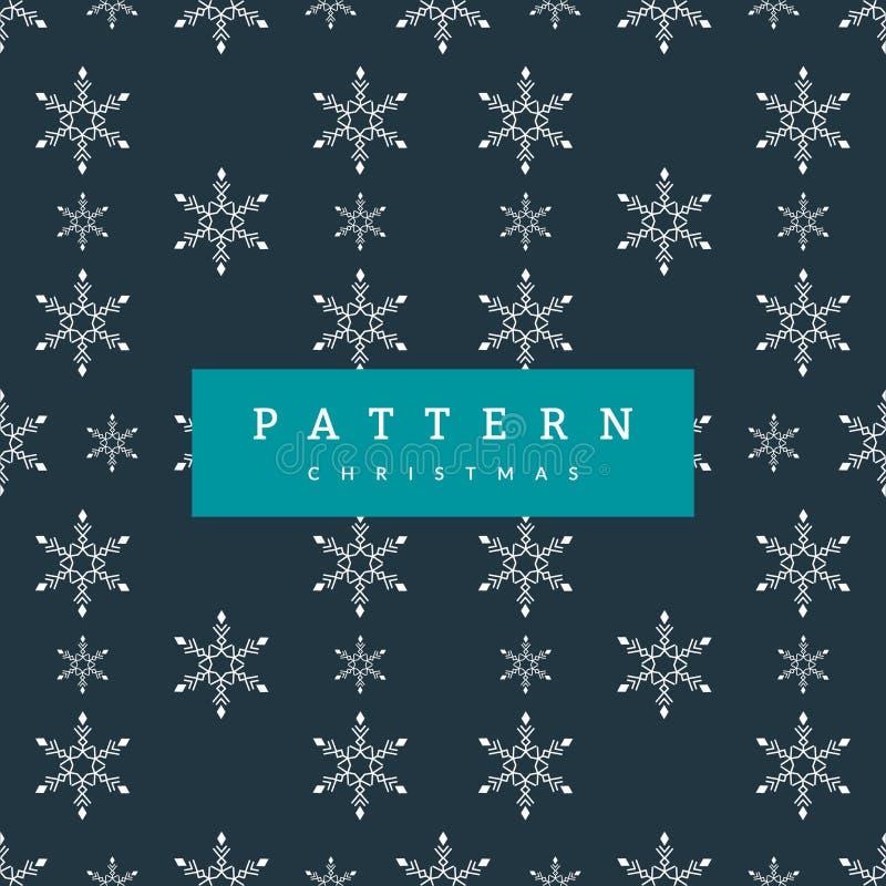 Vita snöflingor för sömlös modelljul på blått mörker - stock illustrationer