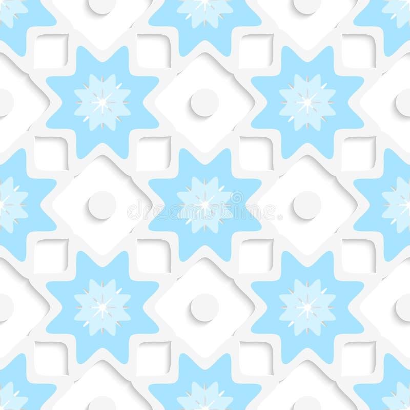 Vita snöflingor och prickar med blått bästa sömlöst royaltyfri illustrationer