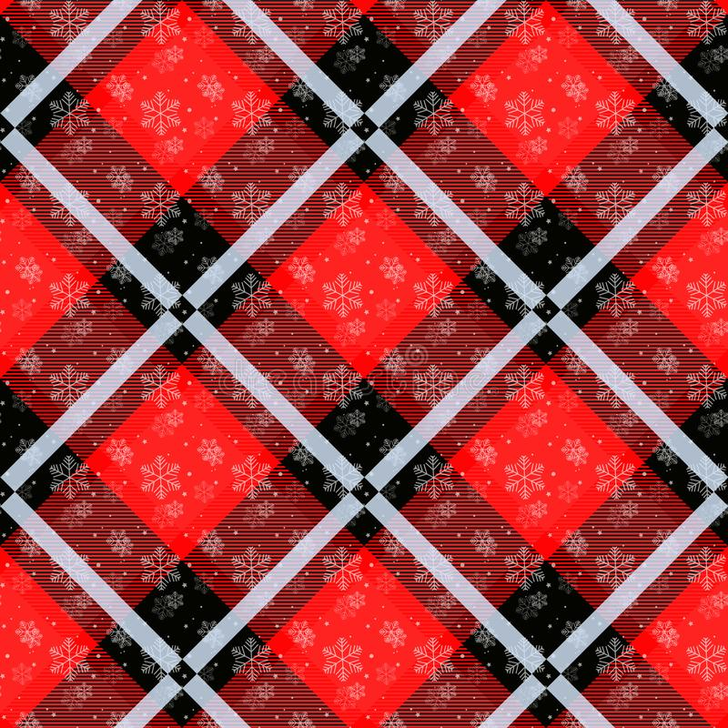 Vita snöflingor som är sömlösa med den röda tartanmodellen Vit snö för vinter och plädferiesamling också vektor för coreldrawillu vektor illustrationer