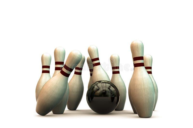 vita stift för bowling 3d royaltyfri illustrationer