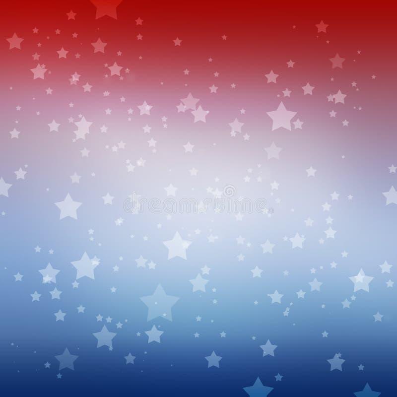 Vita stjärnor på bakgrund för röd vit och för blåa band Den patriotiska det Juli 4th minnesdagen eller valet röstar design vektor illustrationer