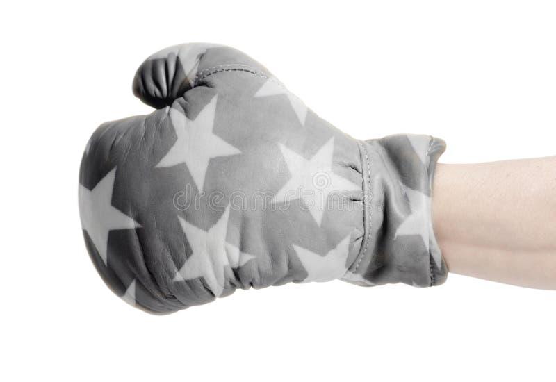 Vita stjärnor på svart läderboxninghandske royaltyfri foto