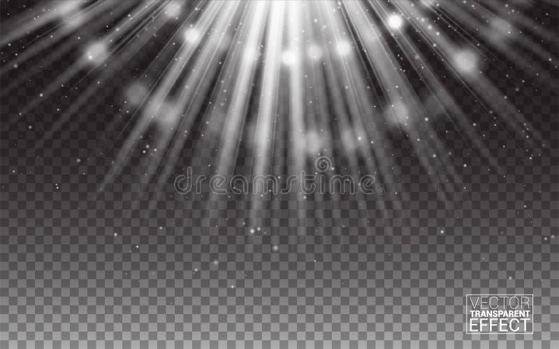 Vita strålar för vektor av illustrationen för ljussignalljusabstrakt begrepp realistiska designelement Effekt på genomskinlig bak vektor illustrationer