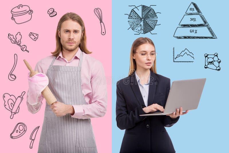 Vita su dell'uomo della casalinga e della donna di affari immagini stock