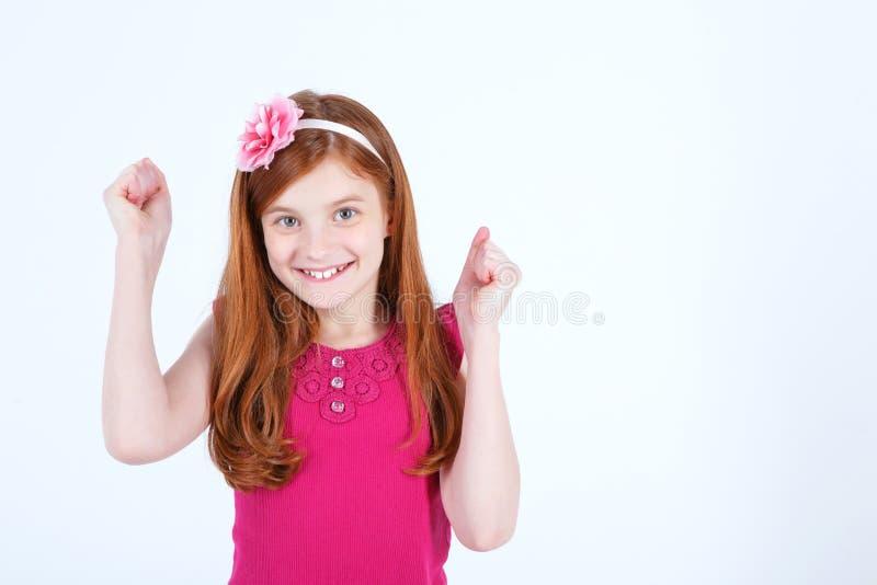 Vita su della ragazza emozionale fotografia stock libera da diritti