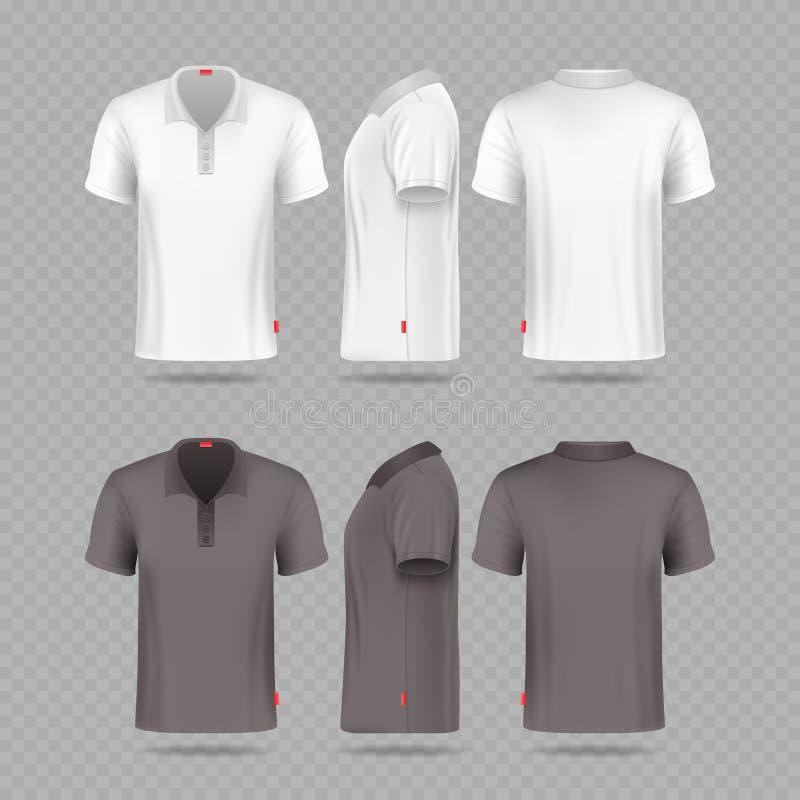 Vita svarta mäns polot-skjorta uppsättning som isoleras på genomskinlig bakgrund royaltyfri illustrationer