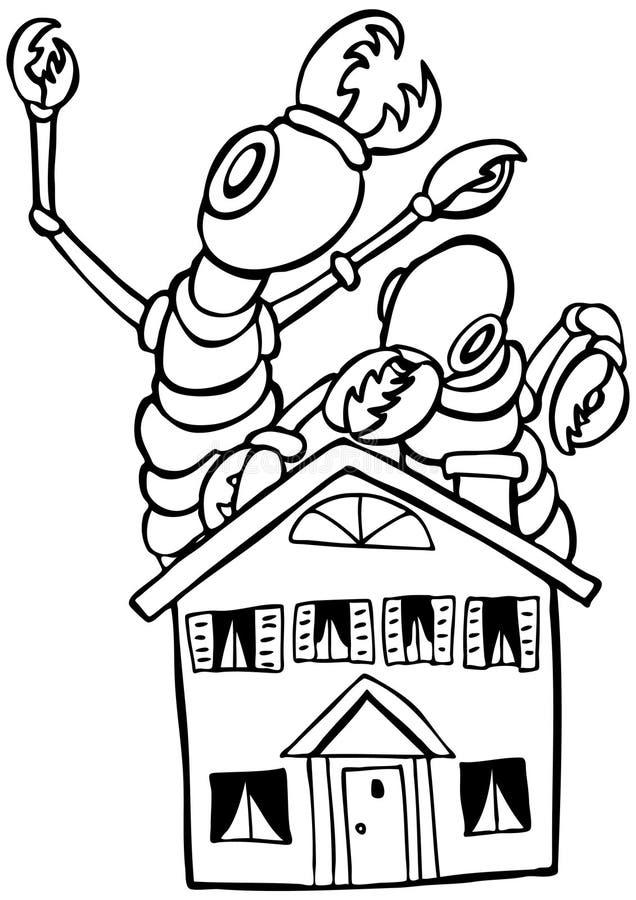vita svarta termites royaltyfri illustrationer