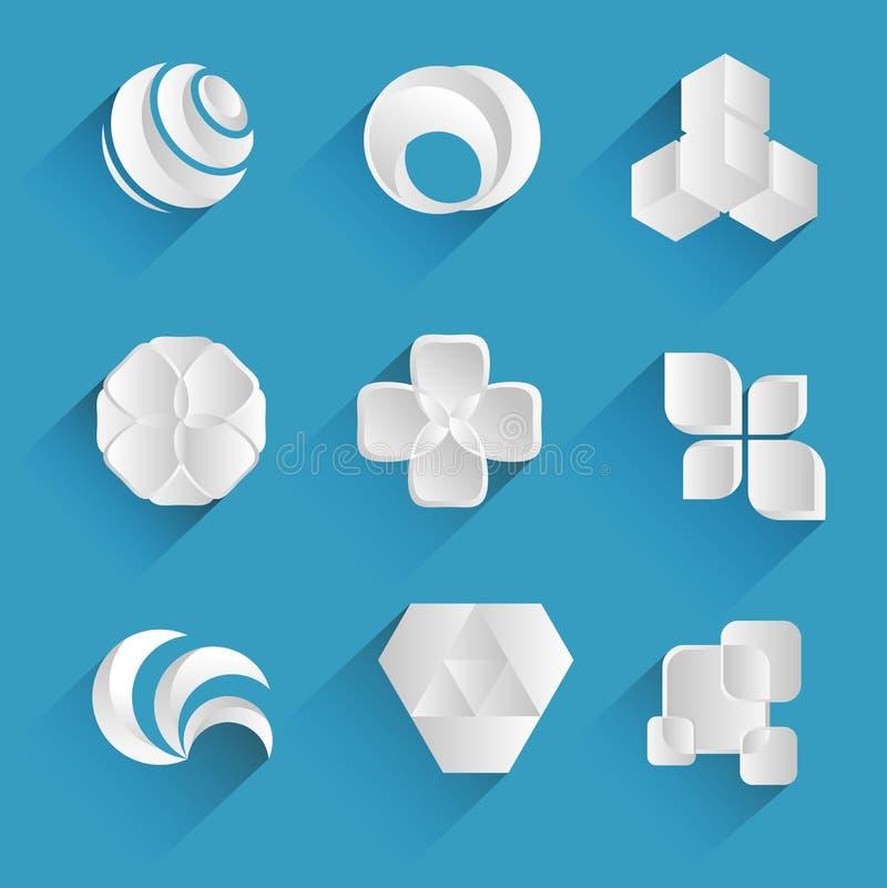 vita symboler inställda logoer stock illustrationer
