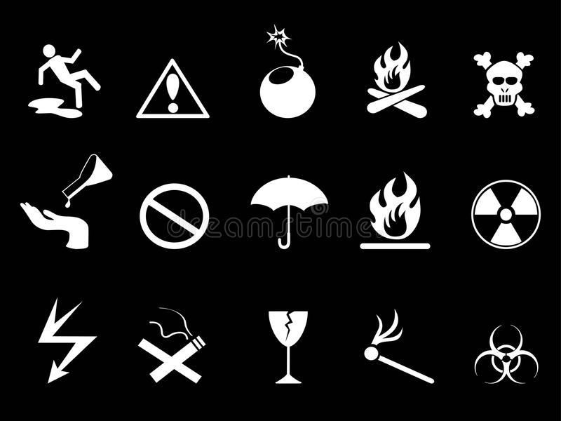 Vita symboler - uppsättning för faravarningssymboler royaltyfri illustrationer