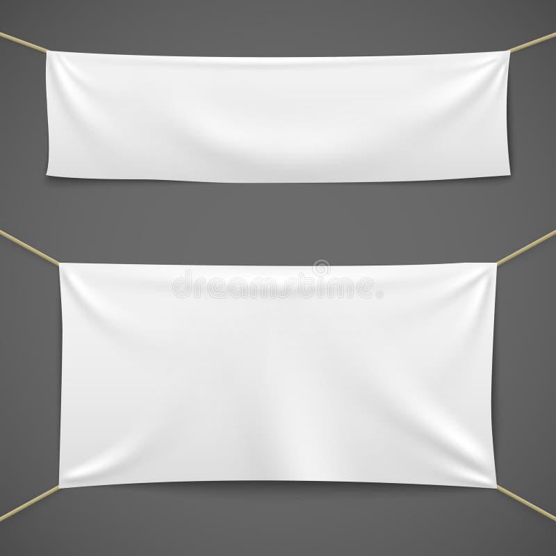 Vita textilbaner Mall för band för försäljning för kanfas för tom tygflagga som hängande horisontalannonserar torkdukebaneruppsät royaltyfri illustrationer
