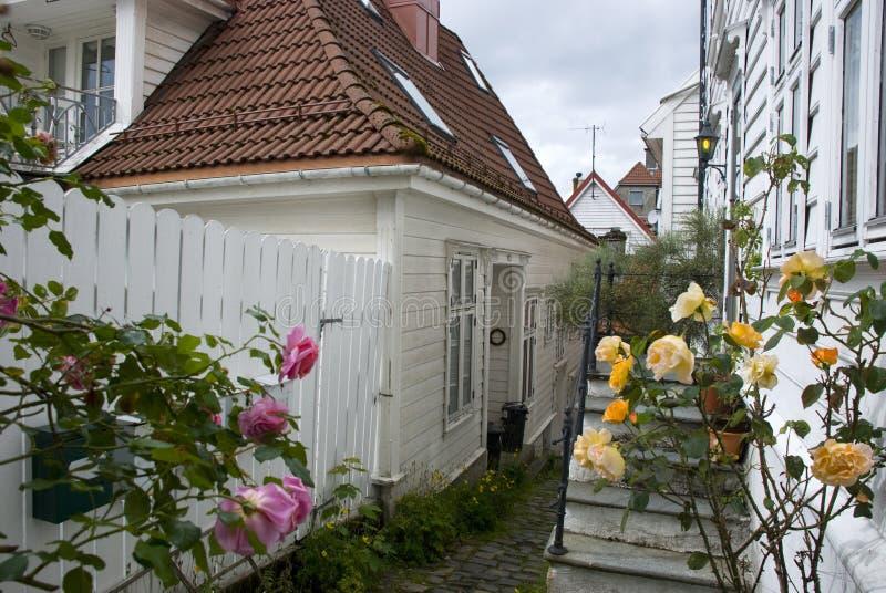 Vita trähus i gammal del av bergen, Norge royaltyfria bilder