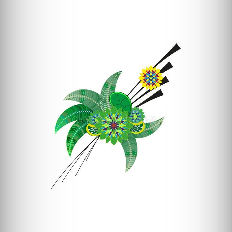 vita tulpan för blomma för bakgrundssammansättningsconvolvulus bakgrund som tecknar den blom- gräsvektorn royaltyfri illustrationer