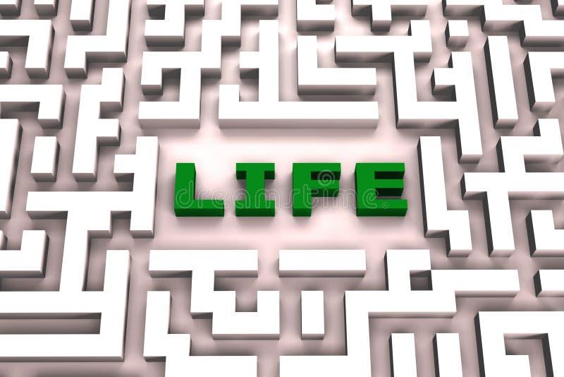 Vita in un labirinto - immagine 3D illustrazione di stock