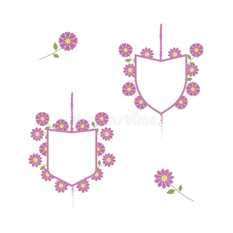 Vita vapensköldar med rosa färger gränsar och den rosa delikata blommanollan royaltyfri illustrationer