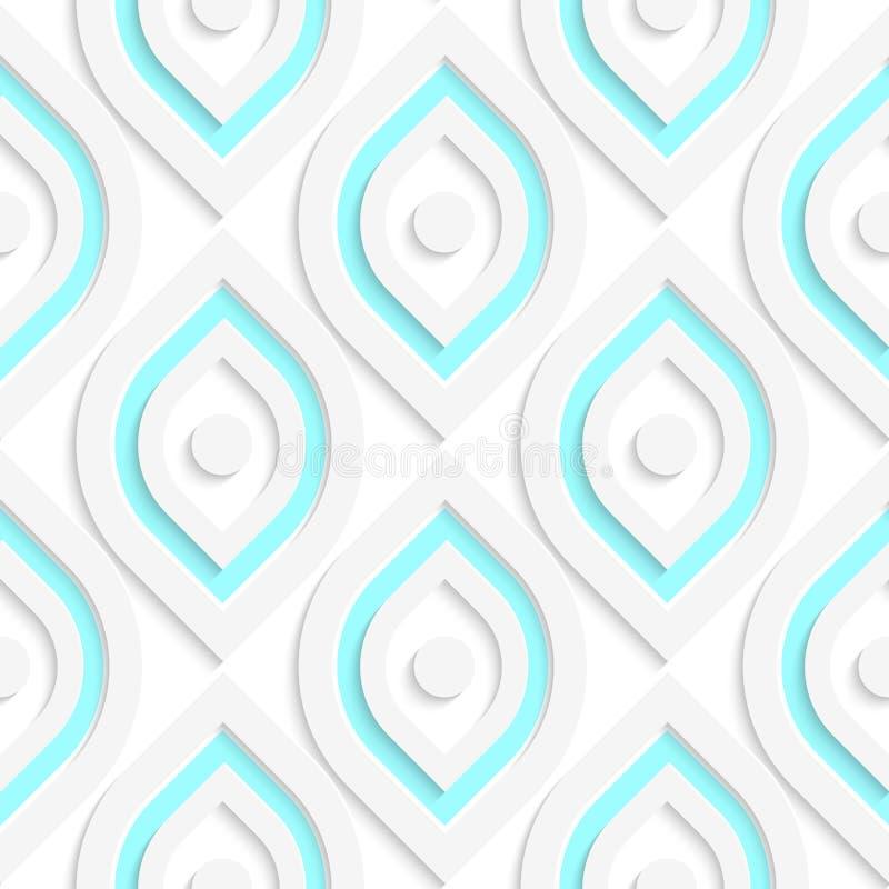 Vita vertikala pointy ovals med sömlösa prickar stock illustrationer
