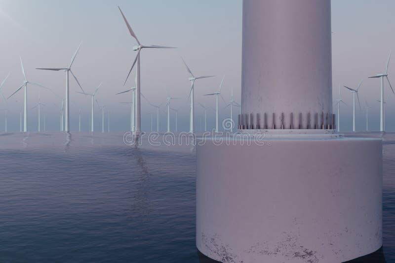 Vita vindturbiner som frambringar elektricitet i havet, hav Ren energi, vindenergi, ekologiskt begrepp framförande 3d vektor illustrationer