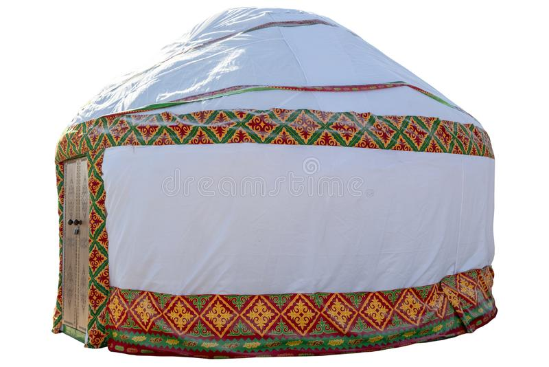 Vita Yurt, inhysa av nomad- stammar för Kazakh som isoleras på den vita bakgrundsnärbilden fotografering för bildbyråer