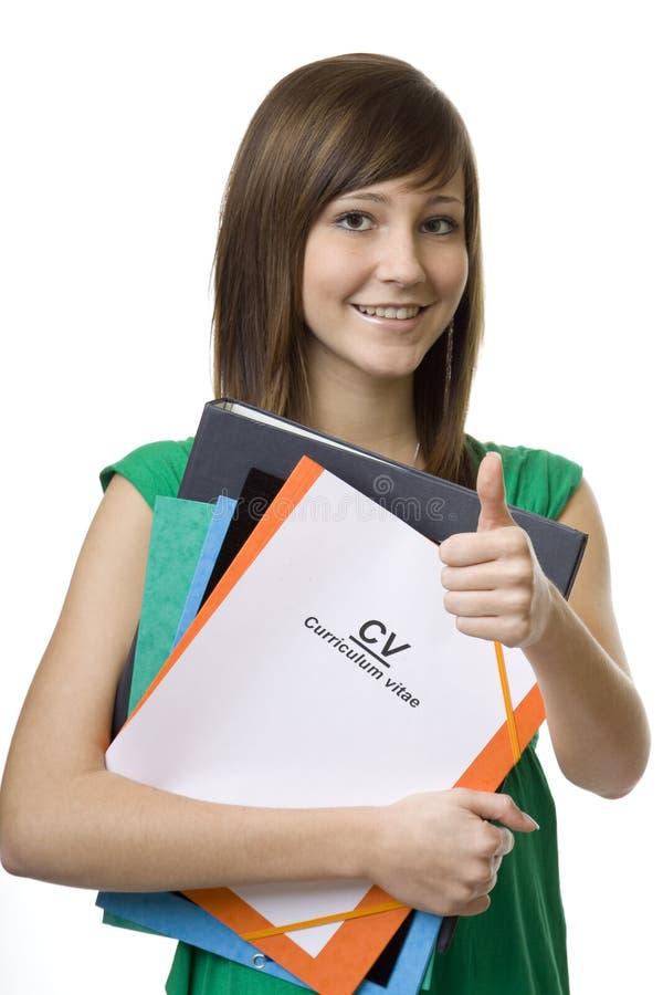 vitae женского студента cv учебной программы портфеля стоковое фото rf