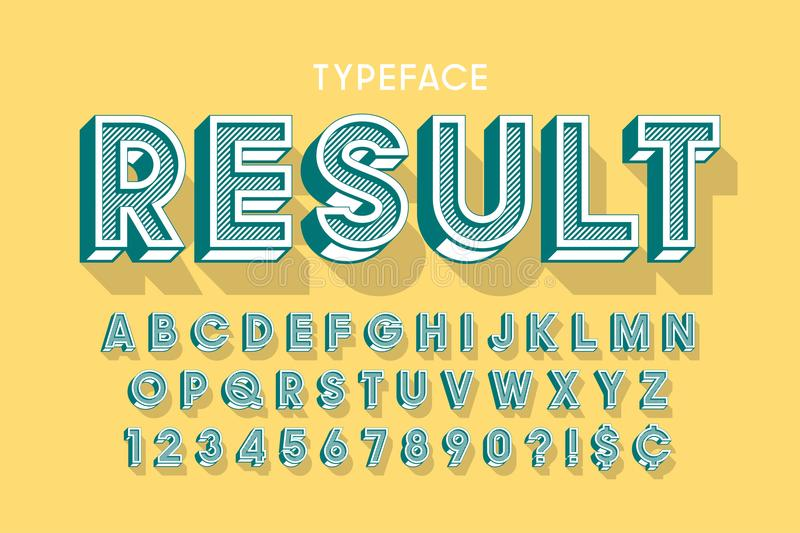 Vitage 3d display font design, alphabet, letters royalty free illustration