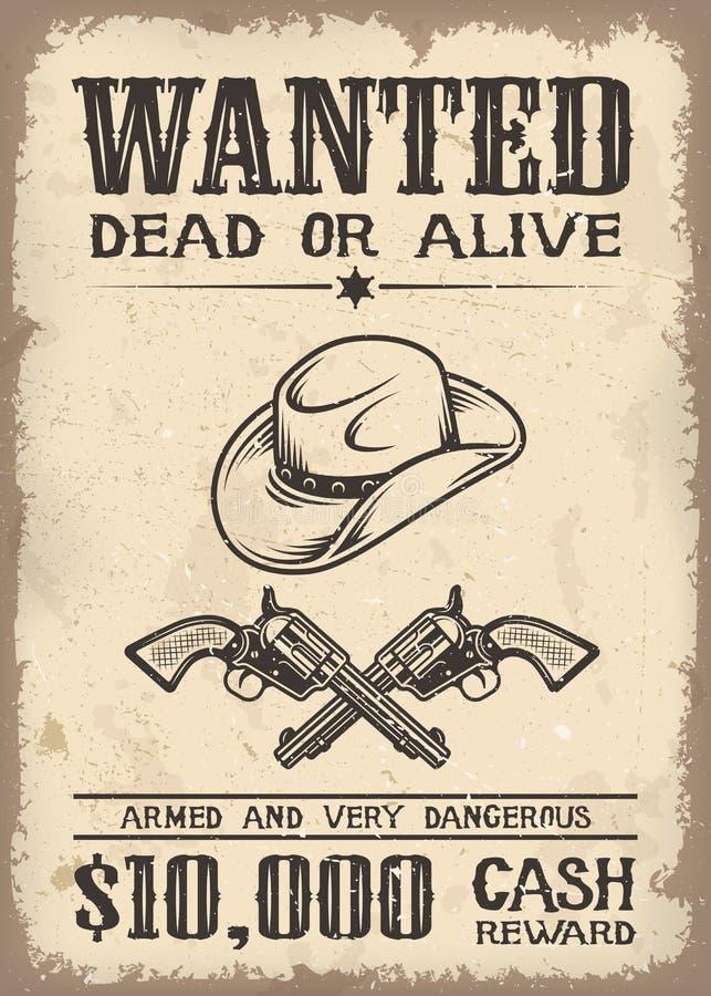 Vitage dziki zachód chciał plakat ilustracji