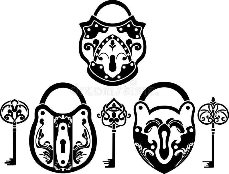 Vitage padlock and key set stock illustration