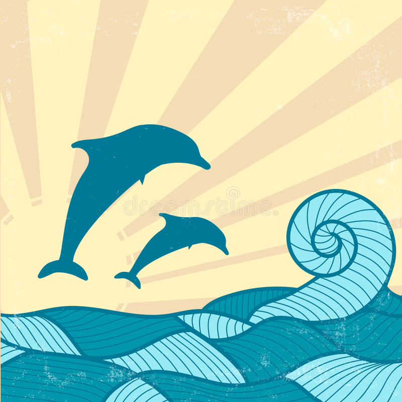 Vitage Poster with Dolphins stock illustration