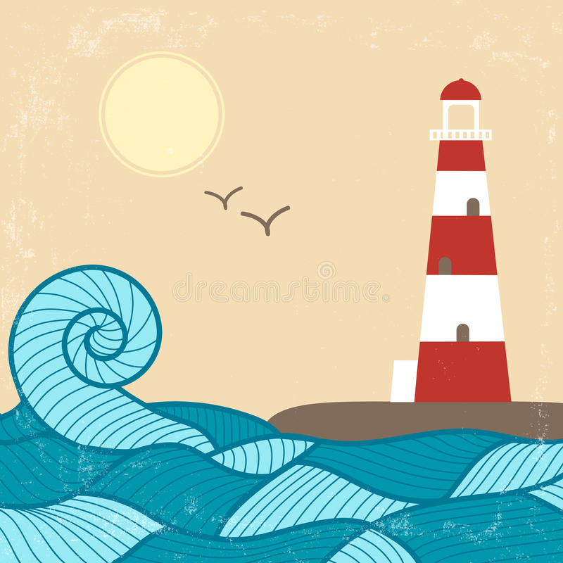 Vitage Poster with Lighthouse stock illustration