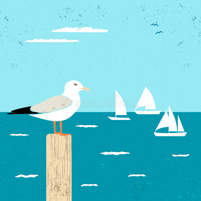Vitage Poster with Seagull and Ships vector illustration