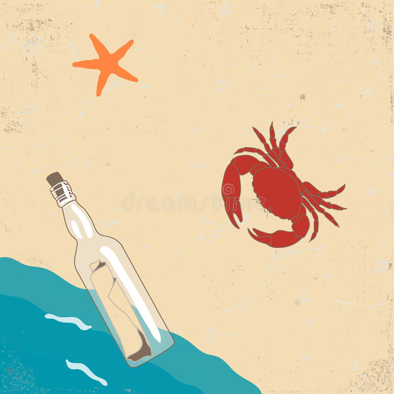 Vitage Poster with Starfish, Crab and Bottle with Message vector illustration