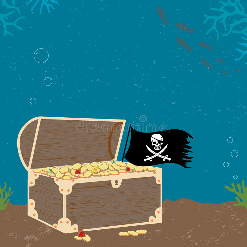 Vitage Poster with Treasure Cheast and Pirate Flag vector illustration