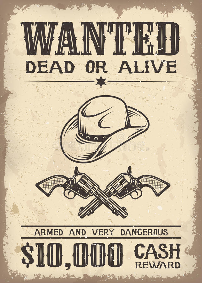 Vitage wild west wanted poster stock illustration