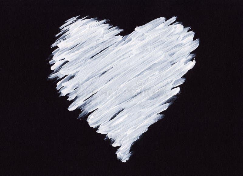 Vitakrylhjärta på svart royaltyfri illustrationer